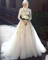 Wholesale arabic elegant wedding dresses images resale online - Saudi Arabic Muslim Wedding Dresses Elegant High Neck Lace Long Sleeves Sweep Train Appliques Country Style Wedding Bridal Gown