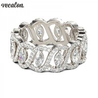Wholesale best rungs for men for sale - Group buy Vecalon Sexy Promise Flower Ring sterling silver A Zircon Cz Engagement Wedding Band rings for women men Jewelry best Gift