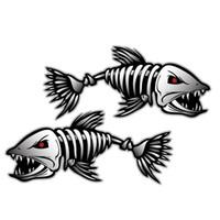 gráficos adesivos para carros venda por atacado-Estilo do carro Esqueleto 2 pcs Esqueleto Fish Boat Decalques Adesivos Barco De Pesca Gráficos Esportes Aquáticos Remo Janela Do Carro Acessório