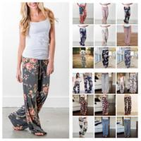 Wholesale yoga pants patterns online - Women Floral Yoga Palazzo Trousers Styles Summer Wide Leg Pants Loose Sport Harem Pants Loose Boho Long Pants