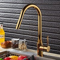 Wholesale Polished Gold Faucets - Luxury Gold Pull Out Sprayer Kitchen Faucet Swivel Spout Sink Mixer Tap Brass Single Handle New