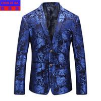 solapa blanca tux blanco al por mayor-nueva llegada de la moda de alta calidad de los hombres vestido de flores Casual chaqueta de un solo pecho chaqueta para hombre Blazer más tamaño M LXL 2XL 3XL 4XL 5XL