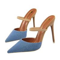 стилетные шлепанцы оптовых-Мода ремень сандалии тапочки вьетнамки женщины каблуки насосы острым носом тонкие высокие каблуки обувь формальные насосы шпильках сандалии GWS457