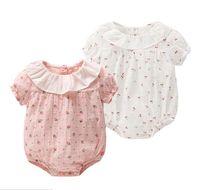 Wholesale girl cherries - baby clothing summer baby kids cartoon ruffles collar short sleeve cherry romper infant kids 100% cotton summer baby romper girl clothing
