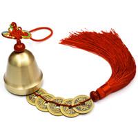 décoration de meubles chinois achat en gros de-Cloche de vent Feng Shui avec feu empereur pièces de monnaie chaîne pour attirer la richesse et la santé Accueil meubles décoration chinois 5 empereurs Fengshui point