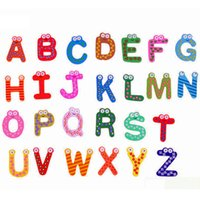 Wholesale Alphabet Magnets Children - New Kids Magnet Education Learning Toys Wooden 26 Alphabet Letters Cartoon Words Home Refrigerator Decorations Kids Children Gifts