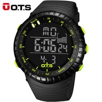 Wholesale Large Led Watches - OTS Large Dial Digital Men Sports Watches Running Stopwatch 50m Waterproof Militar Led Electronica Quartz Watches Men 2017 Gift
