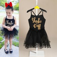 Wholesale kids gymnastic dress - baby girls fairy party ballet tutu gymnastics leotard bodysuit skirt dance dress kids girls letter black lace dress princess skirt