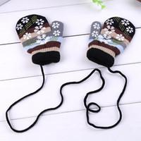 Wholesale children gloves wool - Winter Warm Kids Child Solid Lanyard Gloves mitts Colorful Snowflake Pattern Halter Pack