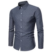 рубашка с воротником polka dot оптовых-Rocksir High Quality  Men's Shirts Fit Sllim Polka Dot Casual Men Shirt Turn-down Collar Business Long Sleeve Autumu Shirt