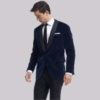 trajes de satén azul al por mayor-Chaqueta de fumar Royal Blue Velvet Trajes de hombre para boda Satén Mantón de solapa Novio guapo Tuxedos Slim Fit Blazers masculinos 2 piezas de chaqueta + pantalones