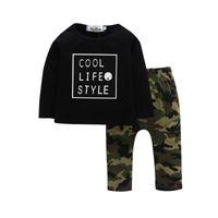 clothing camouflage shirts оптовых-Новорожденных детей мальчиков одежда набор письмо футболка + длинные камуфляж брюки 2018 Детская одежда набор
