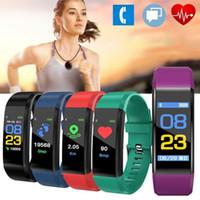 Wholesale id107 smart bracelet for sale - 115 plus Smart Band Fitness bracelet Tracker Step Counter smartBand Watch Heart rate monitoring Wristband pk ID107 fit bit miband