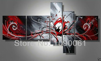 ingrosso set di arte astratta di tela-Dipinto a mano astratta moderna nero bianco e rosso dipinti su tela 5 pannello Art Picture decorazione casa senza set incorniciato