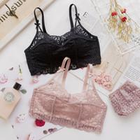 ingrosso rosa pizzo bralette-vendita all'ingrosso donne moda rosa nero pizzo cinghie arco bralette mutandine senza fili reggiseno push up imposta una serie di biancheria intima B Underwear