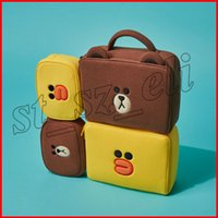 braune ledersaite großhandel-Make-up-Taschen Lackleder Kosmetiktasche Mädchen Reisen Make UP Case Beauty Pouch Kulturbeutel Brown Bear Yellow Duck
