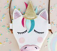 mini sacos de couro para meninas venda por atacado-Bebê Meninas Unicórnio Mensageiro Saco de Couro Pu Dos Desenhos Animados Bonito Cross Body Kids Design Animais Mini Bolsa de Ombro Boutique