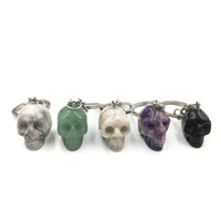 Wholesale Crystal Figurines Wholesale - 1 inch natural crystal Skull Amethyst tiger eye rose quartz howlite Keychain figurine Pendant Key ring Key Holder Men and Women Jewelry