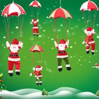 fallschirmspringende weihnachtsdekoration großhandel-Weihnachtsbaum hängende Dekor Fallschirm Schneemann Weihnachtsmann Puppe gefüllte Anhänger Ornamente Dekorationen Weihnachtsgeschenk 4 Farben HH7-1731