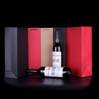 flasche geschenk papiertüte großhandel-Rotweinflasche Verpackungsbeutel Papier Weinflasche Geschenk Hand Beutel Teil Weihnachtsgeschenk Träger 9.5 * 9 * 35cm kraft schwarz rot