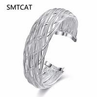 серебряные сетчатые браслеты для женщин оптовых-SMTCAT Top Quality Silver bangle cuff Stamped 925 jewelry mesh big wide cuff bracelets for women  pulseira feminina