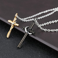 Wholesale couple chains pendants resale online - 2018 Fashion New Pure Steel Chain Cross Pendant Necklace Cross Titanium Steel Couple Necklace Jewelry Gifts Support FBA Drop Shipping H379F