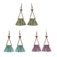 Wholesale vintage geometric earrings - Vintage Retro Geometric Triangle Tassel Drop Earrings Women Ladies Fashion Jewelry 2018 Summer Bohemian Charm Ethnic Earring D926S