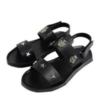 рума обувь оптовых-Летние пляжные туфли мужские сандалии Roma Leisure дышащие открытым носком высокого качества искусственная кожа звезда заклепки сандалии мужской