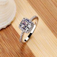 ring zeigt großhandel-Fashion Show Elegante Temperament Schmuck Damen Mädchen Weiß Silber Füllte Hochzeit Ring Klassische Vintage Ring für Frauen Freies Verschiffen