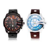 типы лент оптовых-2 Types Business Men Wrist Watch Fashionable PU Leather Band Male Analog Quartz Dial Wristwatch