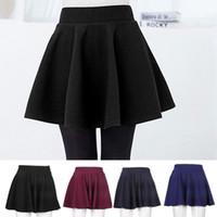 Wholesale skater skirts wholesale - Mini short Skirt Women's Stretch Waist Fashion Unique Cotton Blend Female Flared Pleated Plain Skater High Waist Causal Skirts