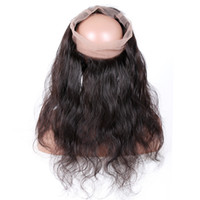 Wholesale human hair lace wigs unprocessed online - Premier Lace Wigs Pre Plucked Lace Frontal Closure Unprocessed Human Hair With Full Frontal Lace Band Closure Body Wave