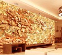 ingrosso progettista della cucina carta da parati-carte da parati decorazioni per la casa designer stile cinese peonia cinese fiore sculture in legno 3d TV parete cucina carta da parati