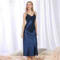 05cd760117 Summer Long Nightgowns Sleepshirts Satin Sleepwear Chemise Sleep Lounge  Night Silk Dress Elegant Sexy Ladies Nightwear Plus Size S1011