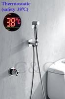 Wholesale Handheld Bidet Sprayer - Thermostatic Handheld Toilet Bidet Faucet Hygiene Personal Cleaning Shattaf Sprayer Douche Kit Luxurious Bathroom Shower Head