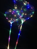 Wholesale heart shape balloon decoration - Love Heart Shape LED Light BoBO Balloons Luminous Transparent 3 Meters Balloon with Pole for 2018 Valentines Day Wedding Party Decoration