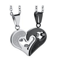 Wholesale Womens Heart Necklaces - Two Colors Stainless Steel Mens Womens Couple Necklace Pendant Love Heart CZ Puzzle Matching