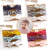 Wholesale color cotton hair band resale online - Boutique Baby girl Headbands Soft Knot Bows Bunny hair band cotton Stripes hair accessories Birthday gift card