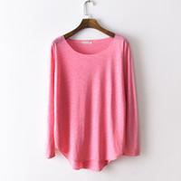простые женские хлопчатобумажные рубашки оптовых-Cotton Basic Plain T-Shirt Women Tops Loose Harajuku Tee Shirt 2018 Autumn Casual Long Sleeve T Shirts Feminina Camisa Blusas