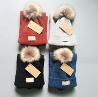 Wholesale blue fur scarf for sale - Group buy Kids Australia Pom Pom Hat Scarf Set Colors Knit Fur Pom Beanies Winter Warm Crochet Hats Scarves Girls Boys Outdoor Ski Hat set OOA5949