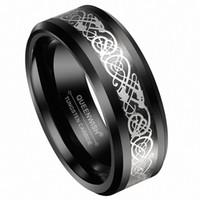 кельтские пары ювелирные изделия оптовых-8 мм мужская Вольфрам черный кельтский Серебряный дракон кольцо вечности обручальные кольца для пар ювелирных изделий