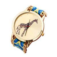 новые канатные часы оптовых-New Blue+Yellow Giraffe Pattern Weaved Rope Band fashion& casual dropshipping watch Fabric round quartz Dial Watch JLY0812