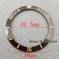 armbanduhren großhandel-38mm Brown Ceramic Lünette Insert Kit Automatische Herrenuhr Uhrengehäuse Armbanduhr Teil