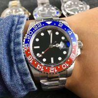 mavi dalış saati otomatik toptan satış-Lüks Yeni Gent'in GMT II Otomatik Saatler Paslanmaz Çelik Dalış Mavi Kırmızı Seramik Daire Usta 40mm Mens Watch Relogio Mens Saatler