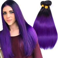 ingrosso estensioni colorate capelli umani-Bundle indiani Ombre pre-colorati T1B / Capelli viola 100% Virgin Remy Hair Weave 10