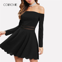 Wholesale sexy fit flare dresses sleeves long for sale - Group buy COLROVIE Mesh Insert Bardot Fit Flare Dress New A Line Long Sleeve Short Dress Female Off the Shoulder Party