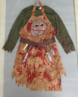 ingrosso costumi sanguinanti-Costumi Costumi di Halloween per adulti Uomini Terrore Bloody Butcher Costume Carnaval Man's Chef Festival Cosplay Abiti di Halloween