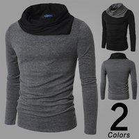 camisa de colarinho de cor preta venda por atacado-Hot Moda Camisa Longa T Cinza Preto Mens Slim Fit Casual Top Design Turndown Collar Sweatshirts Roupas Masculinas 2 Cor 4 Tamanho