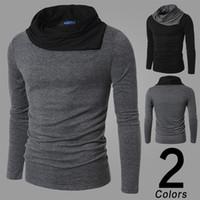 t-shirt gris mince achat en gros de-Mode chaude Longue T Shirt Gris Noir Hommes Slim Fit Décontracté Top Design Col Rabattu Sweatshirts Vêtements Hommes 2 Couleur 4 Taille