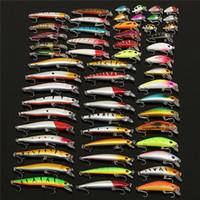 anzuelos de pescado al por mayor-56pc Surtido mixto conjunto de señuelos de pesca de plástico duro Wobbler Crankbait Swimbait con gancho agudo Minnow Bait Carp Fish Spinners
